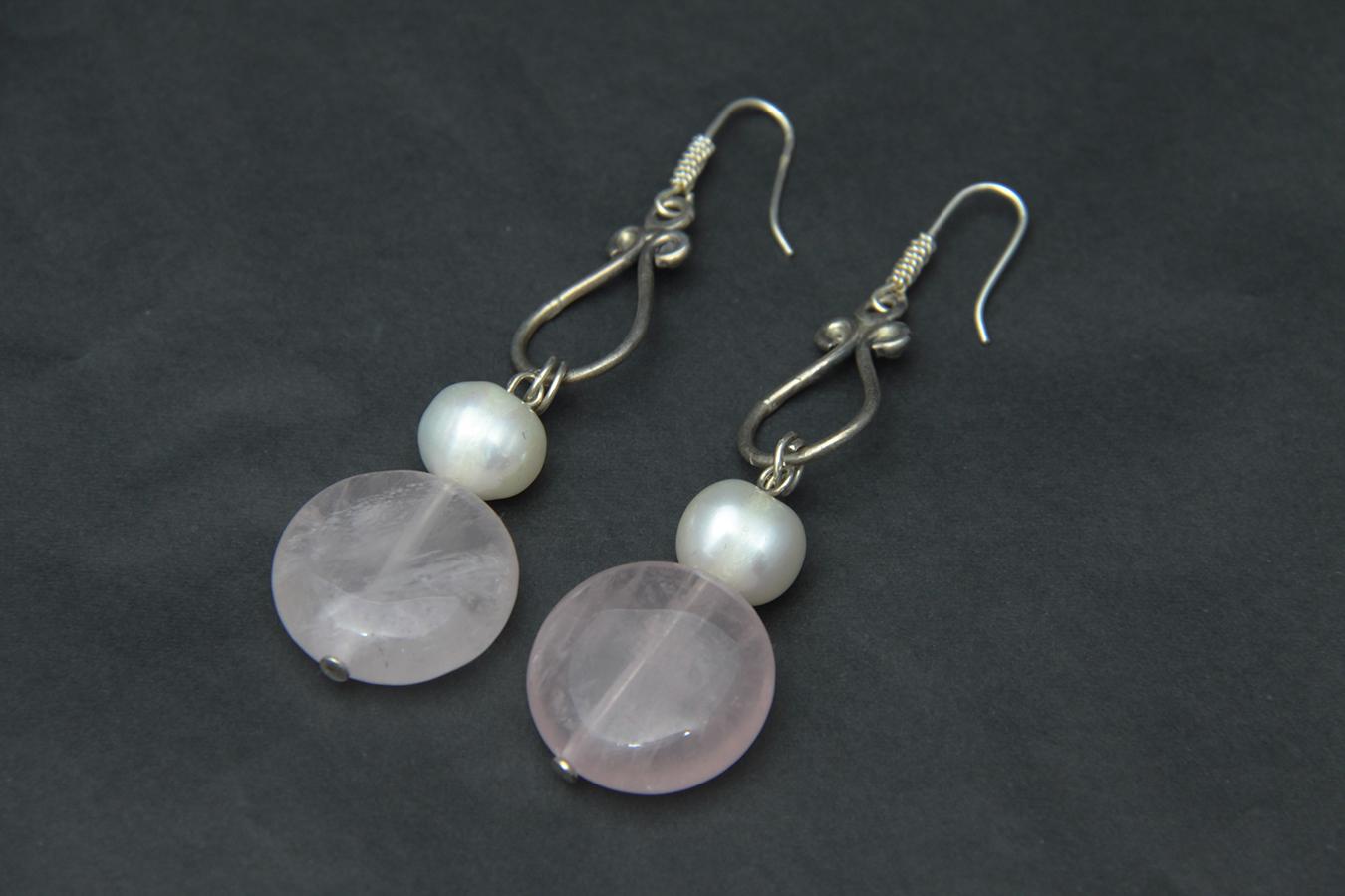 Pendientes de ágata, perlas y plata