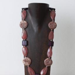 Collar de cuarzo, cristal de Murano y plata
