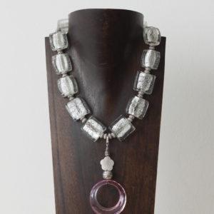 Collar de cristal de Murano, nácar, resina y plata