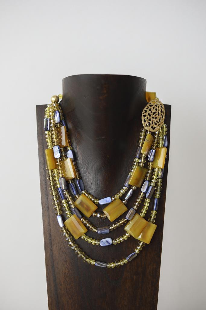 Collar de ágatas, cristal de Murano y plata dorada